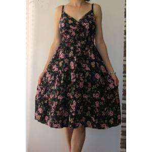 Pántos, virágmintás női pamut ruha - fekete (one size)