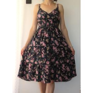 Pántos, virágmintás női pamut ruha - sötétkék (one size)