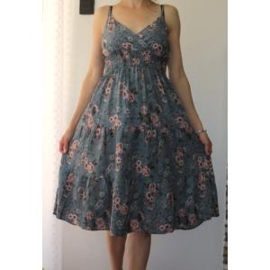 Pántos, virágmintás női pamut ruha - szürkéskék (one size)