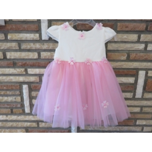 Hófehér-rózsaszín tüll kislány ruha (74)