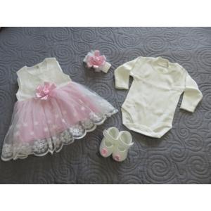 Hófehér-rózsaszín kislány alkalmi szett hajpánttal, kiscipővel, bodyval (56-68)