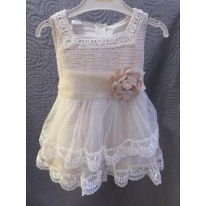 Krémszínű alkalmi lenvászon kislány ruha