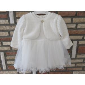 Gyönyörű törtfehér kislány keresztelő ruha boleróval (80)