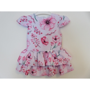 Pipacs mintás, könnyű, nyári kislány ruha (104)