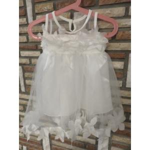 Hófehér tüll kislány keresztelő ruha szirmokkal (86)