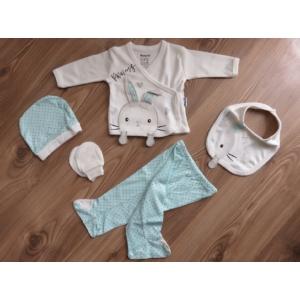 5 részes újszülött kislány babaruha szett - kék, nyuszis (56/62)