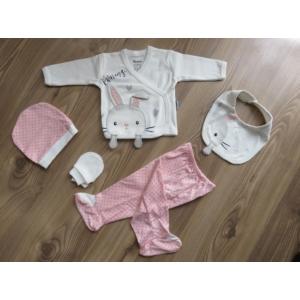 5 részes újszülött kislány babaruha szett - rózsaszín, nyuszis (56/62)