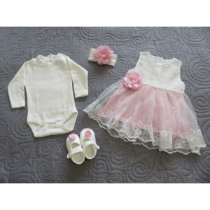 Hófehér-rózsaszín csipkés keresztelő/alkalmi szett hajpánttal, kiscipővel (56-68)