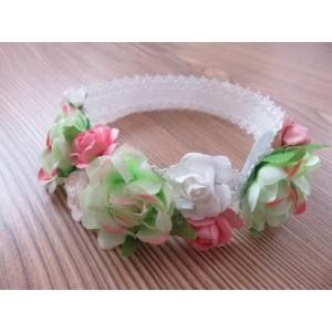 Fehér alapon fehér-rózsaszín virágos hajpánt