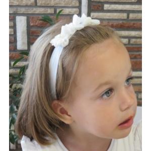 Törtfehér, virágos kislány hajpánt