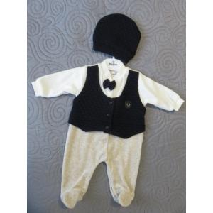 Baba, kisfiú ünnepi/alkalmi ruha, plüss rugdalózó - bézs-sötétkék