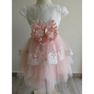 Gyönyörű hófehér-barack színű tüll alkalmi kislány ruha (98)