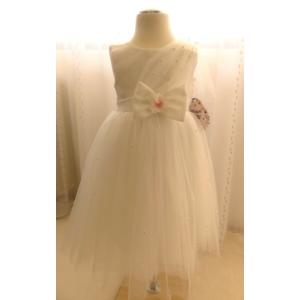 Elegáns hófehér alkalmi/keresztelő kislány tüll ruha
