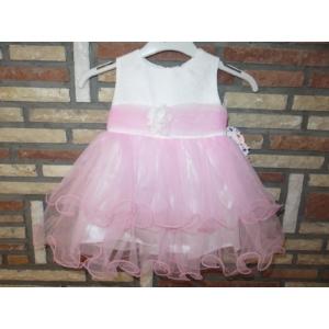 Fehér-rózsaszín keresztelő/alkalmi kislány tüll ruha (62)