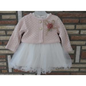 Törtfehér keresztelő/alkalmi kislány ruha púder színű boleróval (74)
