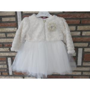 Gyönyörű törtfehér kislány keresztelő/alkalmi ruha szőrme boleróval