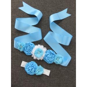 Babaváró öv hajpánttal kismamáknak - kék