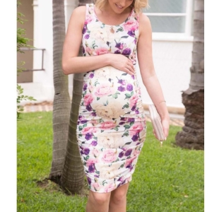 Könnyű, nyári, virágmintás szoptatós kismama ruha