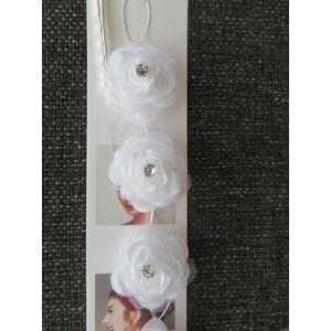 Fehér, virágos esküvői, menyasszonyi hajdísz/hajdrót
