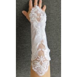 Hófehér menyasszonyi hímzett kesztyű (1 pár)