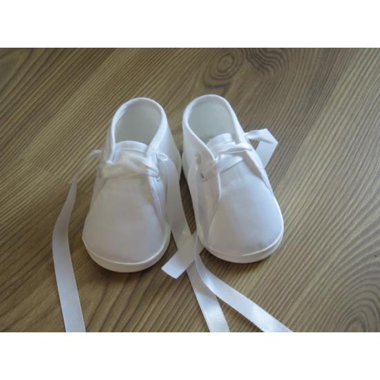 Hófehér kisfiú keresztelő/alkalmi cipő- fűzős (18)