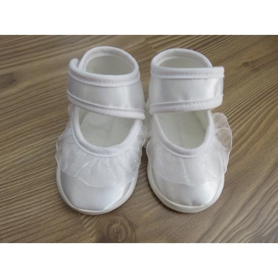 Hófehér szatén kislány cipő - fodros (17)