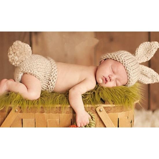 Unisex nyuszis szett babafotózásra (0-6 hó)
