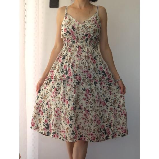 Pántos, virágmintás női pamut ruha - fehér (one size)