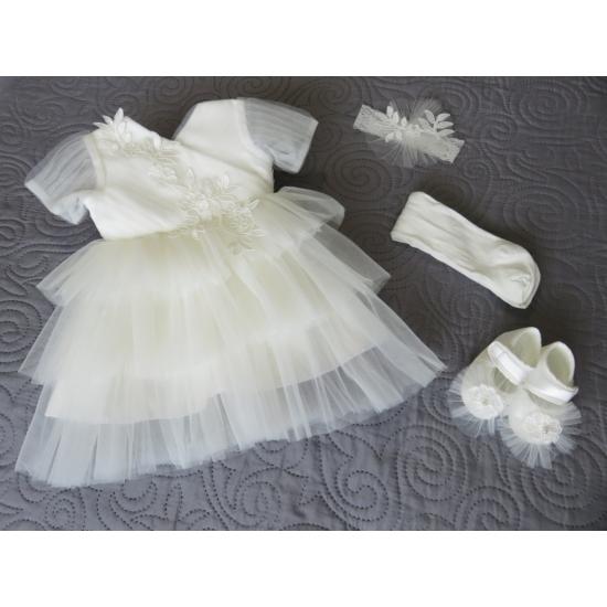Fehér kislány alkalmi/keresztelő szett (62/68)