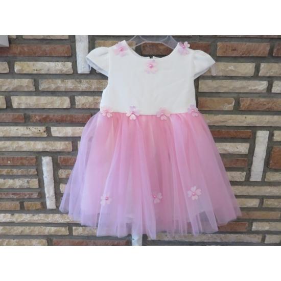 Hófehér-rózsaszín tüll kislány ruha (62)