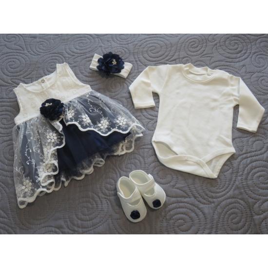 Hófehér-kék kislány alkalmi szett hajpánttal, kiscipővel, bodyval (56-68)