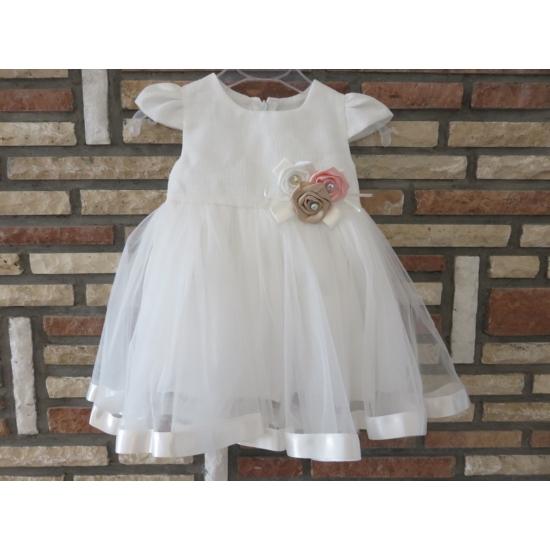 Fehér kislány keresztelő ruha virágdísszel (62)