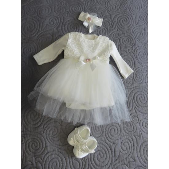 Hófehér kislány keresztelő szett hajpánttal, kiscipővel - rózsaszín dísszel (56-68)
