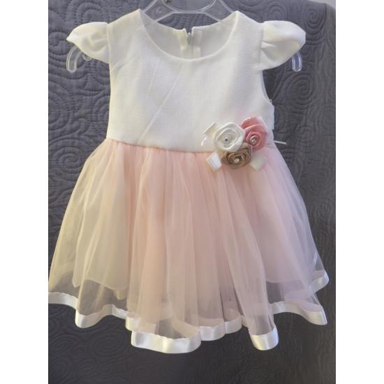 Hófehér-rózsaszín kislány ruha (80)