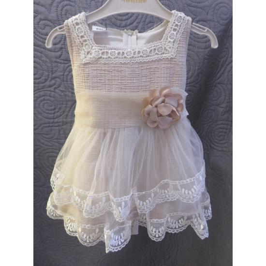 Krémszínű, ujjatlan kislány ruha (80)
