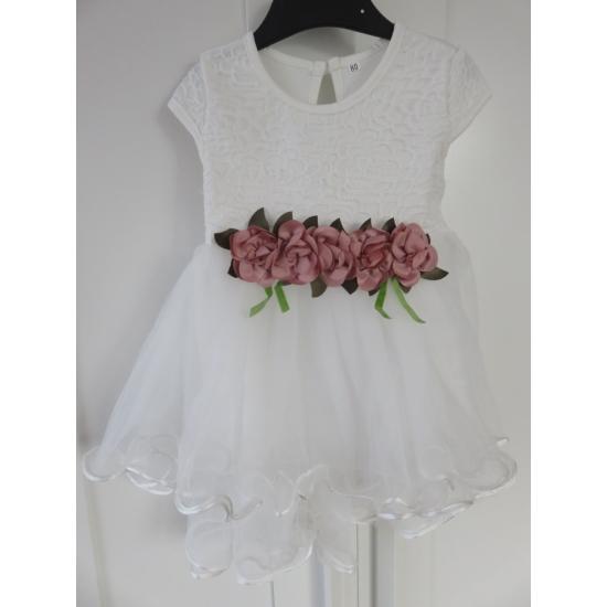 Hófehér ruha virágdísszel (80-86)