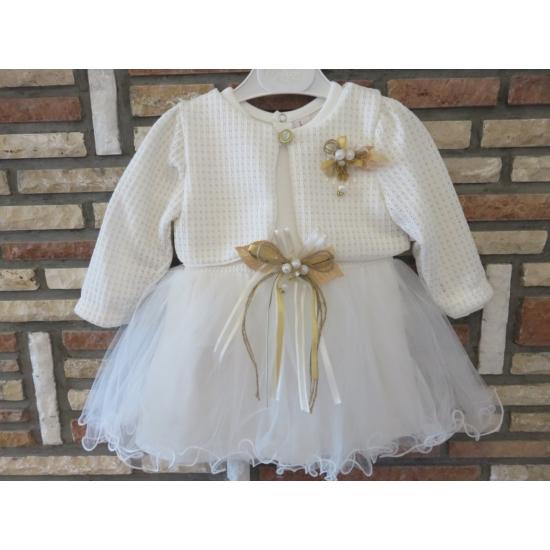 Törtfehér kislány ruha boleróval, bézs-barna dísszel (74)