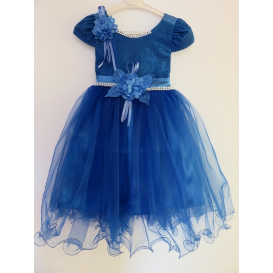 Gyönyörű királykék kislány ruha (92)