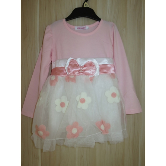 Rózsaszín-fehér kislány ruha (92-98)