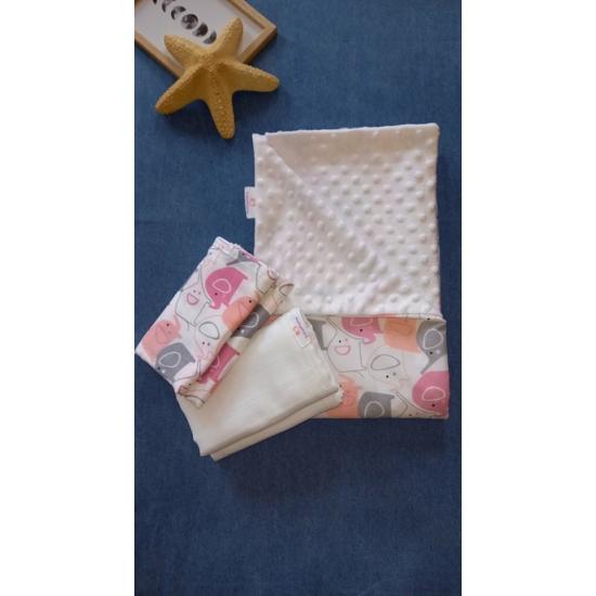 Rózsaszín elefántos szett (babatakaró és 2 db pelenka) - BabooMamoo