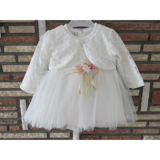 Törtfehér kislány keresztelő/alkalmi ruha csipke boleróval, kitűzővel