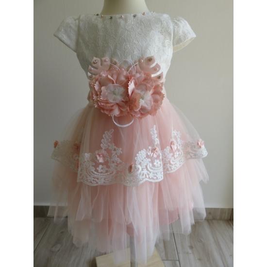 Gyönyörű hófehér-barack színű tüll alkalmi kislány ruha
