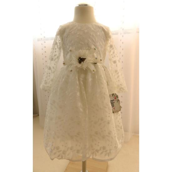 Törtfehér hímzett csipkés hosszú ujjú kislány ruha