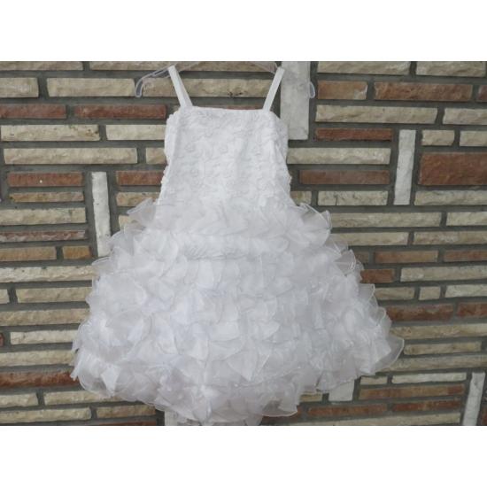 Hófehér, gyönyörű, habos-babos kislány alkalmi ruha (98)