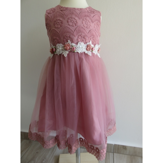 Elegáns mályva-fehér csipkés kislány ruha