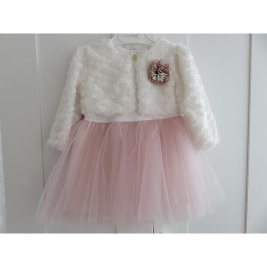 Gyönyörű törtfehér-rózsaszín kislány alkalmi ruha szőrme boleróval (86)
