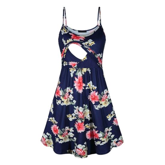 Könnyű, pántos virágmintás szoptatós kismama ruha