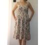 Kép 2/6 - Pántos, virágmintás női pamut ruha - fehér (one size)
