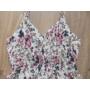 Kép 6/6 - Pántos, virágmintás női pamut ruha - fehér (one size)