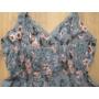 Kép 6/6 - Pántos, virágmintás női pamut ruha - szürkéskék (one size)